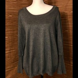 Liz Claiborne Gray Sweater with Flounce Sleeves